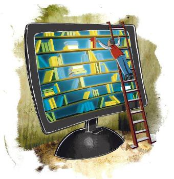 Pc con scaffale libri